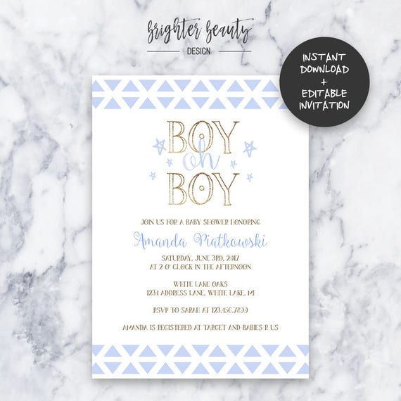 Boy Oh Boy Baby Shower Invitation | INSTANT DOWNLOAD | Editable PDF| Do It Yourself | Printable