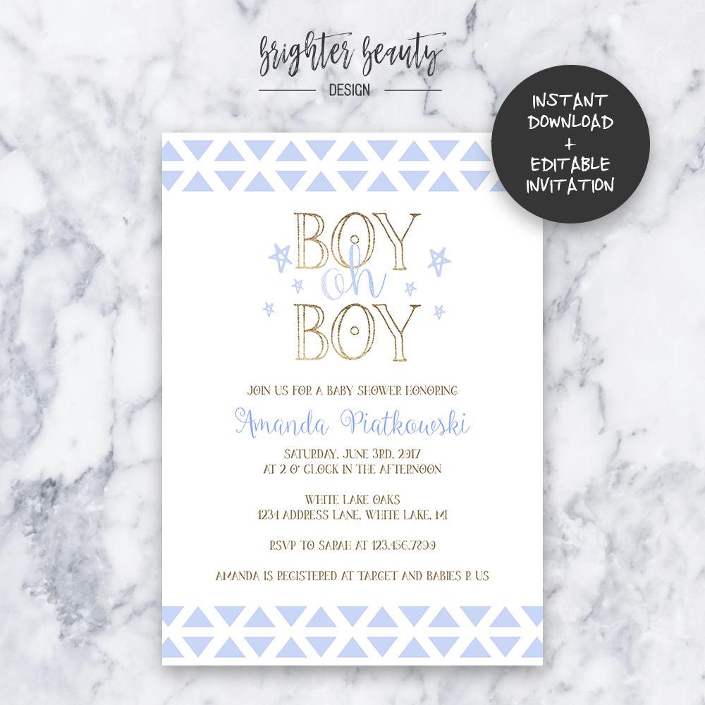 Boy Oh Boy Baby Shower Invitation | INSTANT DOWNLOAD | Editable PDF ...