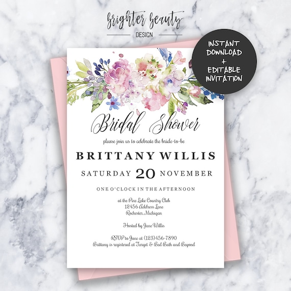 Bridal Shower Invitation | INSTANT DOWNLOAD | Editable PDF| Do It Yourself | Printable
