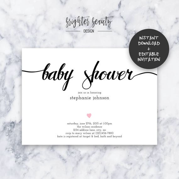 Simple Pink Baby Shower Invitation | INSTANT DOWNLOAD | Editable PDF| Do It Yourself | Printable