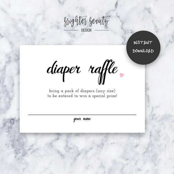 Simple Pink Diaper Raffle | Baby Shower Insert | INSTANT DOWNLOAD | Do It Yourself | Printable