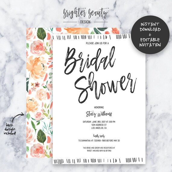 Peach Boho Bridal Shower Invitation | INSTANT DOWNLOAD | Editable PDF| Do It Yourself | Printable