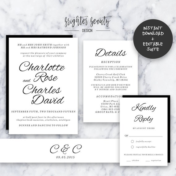 Traditional Black and White Wedding Invitation Suite | INSTANT DOWNLOAD | Editable PDF| Do It Yourself | Printable