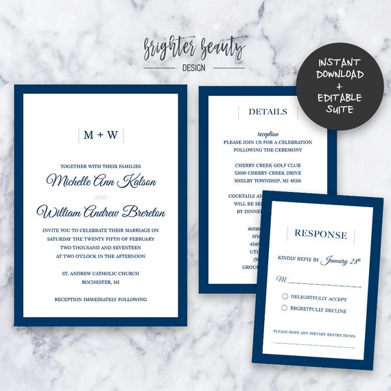 Classic Navy Wedding Invitation Suite | INSTANT DOWNLOAD | Editable PDF| Do It Yourself | Printable