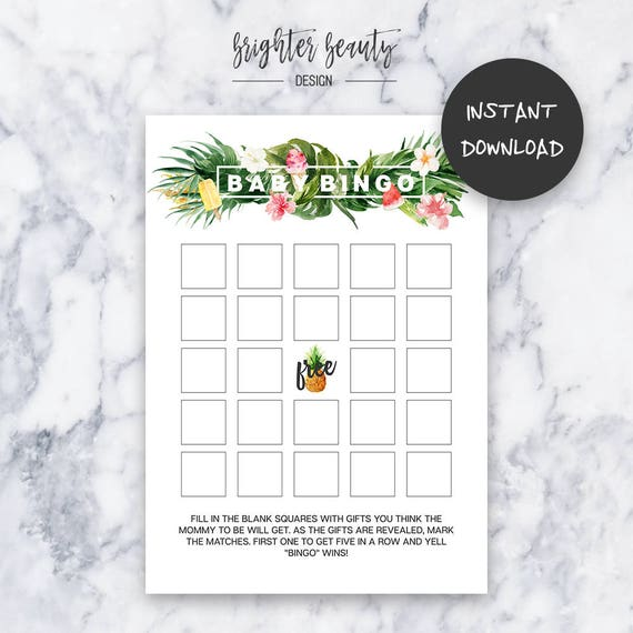 Tropical Baby Bingo Game | Instant Download | DIY | Printable