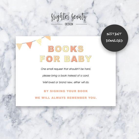 Coral Books for Baby | Baby Shower Insert | INSTANT DOWNLOAD | Do It Yourself | Printable