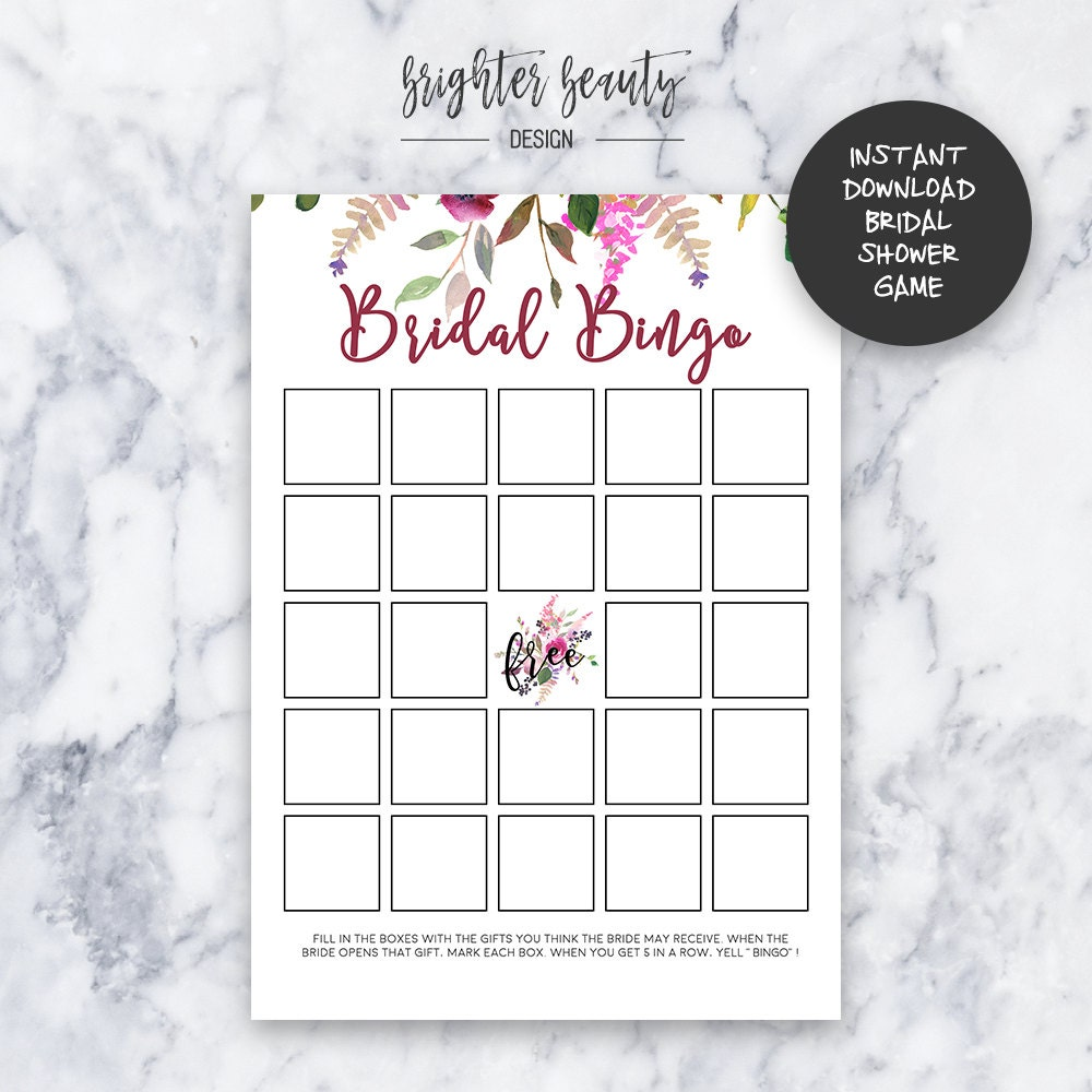 bridal bingo bridal shower bingo game instant download diy printable
