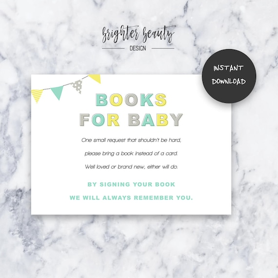 Teal/Yellow Gender Neutral Books for Baby | Baby Shower Insert | INSTANT DOWNLOAD | Do It Yourself | Printable