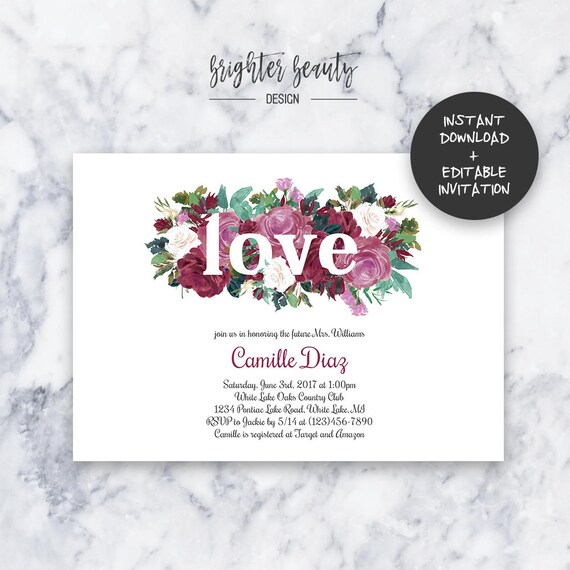 Floral Love Bridal Shower Invitation | INSTANT DOWNLOAD | Editable PDF| Do It Yourself | Printable