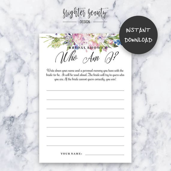 Bridal Shower Who Am I Game | Bridal Shower Game | Instant Download | DIY | Printable