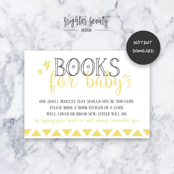 Yellow Books for Baby | Baby Shower Insert | INSTANT DOWNLOAD | Do It Yourself | Printable