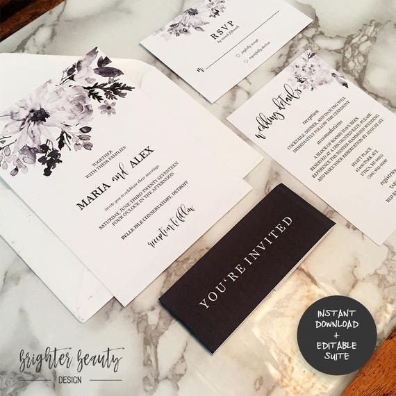 Black and White Wedding Invitation Suite | INSTANT DOWNLOAD | Editable PDF| Do It Yourself | Printable