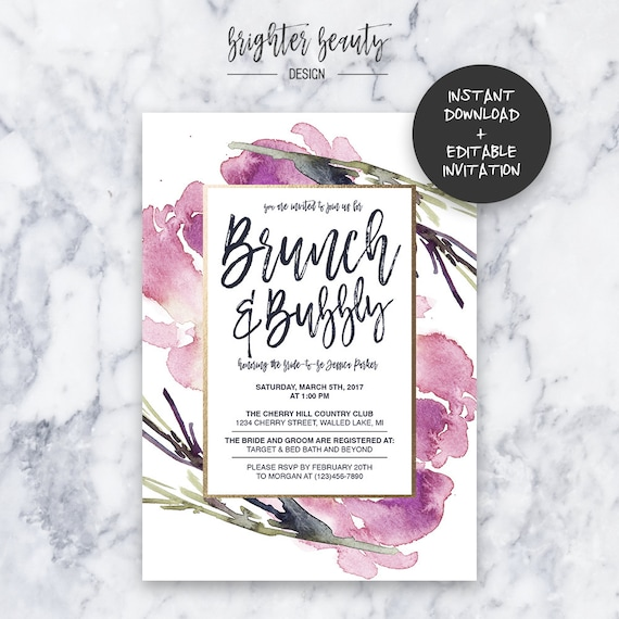 Purple Brunch & Bubbly Shower Invitation | INSTANT DOWNLOAD | Editable PDF| Do It Yourself | Printable