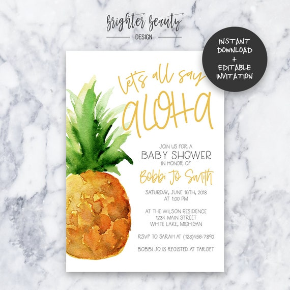 Pineapple Baby Shower Invitation | INSTANT DOWNLOAD | Editable PDF| Do It Yourself | Printable