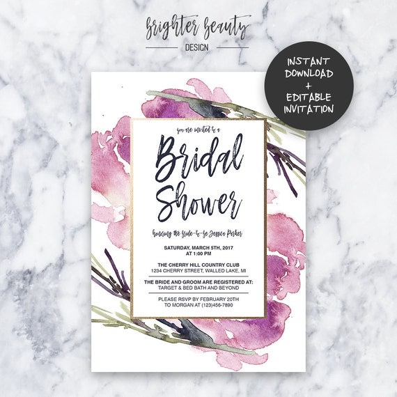 Pink Bridal Shower Invitation | INSTANT DOWNLOAD | Editable PDF| Do It Yourself | Printable