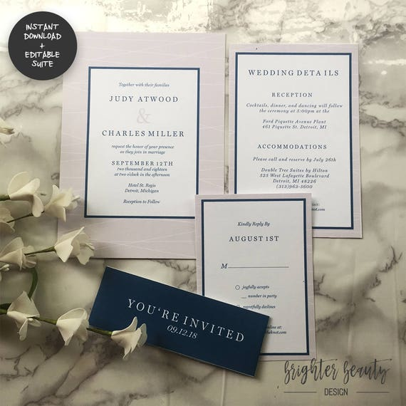 Navy & Gray Wedding Invitation Suite | INSTANT DOWNLOAD | Editable PDF| Do It Yourself | Printable