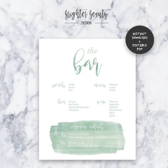 Sage Watercolor Wedding Bar Menu | INSTANT DOWNLOAD | Editable PDF| Do It Yourself | Printable