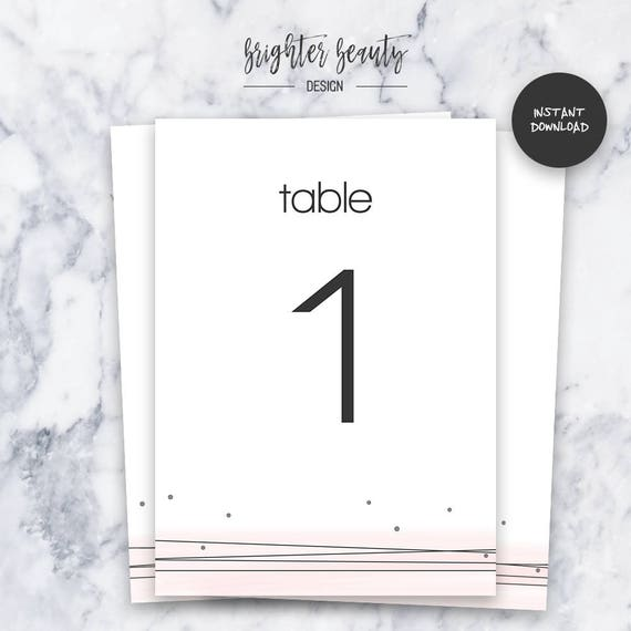 Blush Wedding Table Numbers  | INSTANT DOWNLOAD | Editable PDF| Do It Yourself | Printable