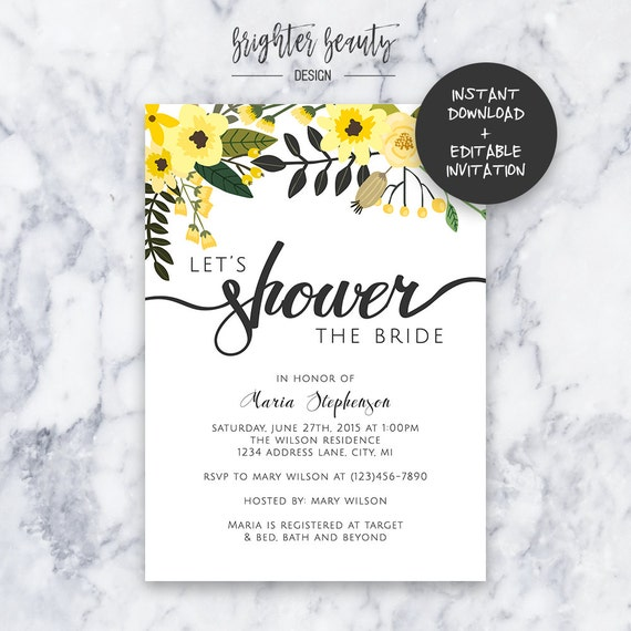 Yellow Bridal Shower Invitation | INSTANT DOWNLOAD | Editable PDF| Do It Yourself | Printable