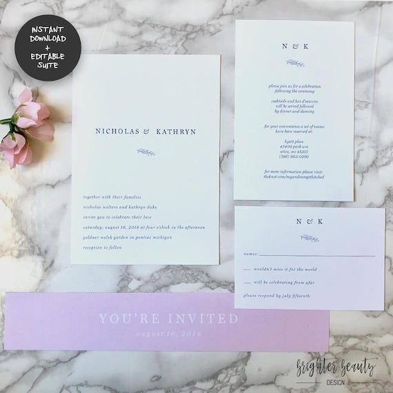 Minimal Gray & Pink Wedding Invitation Suite | INSTANT DOWNLOAD | Editable PDF| Do It Yourself | Printable