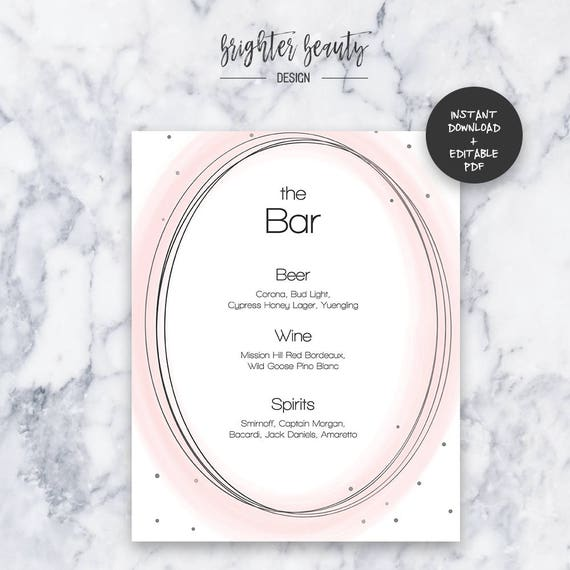 Blush Wedding Bar Menu | INSTANT DOWNLOAD | Editable PDF| Do It Yourself | Printable