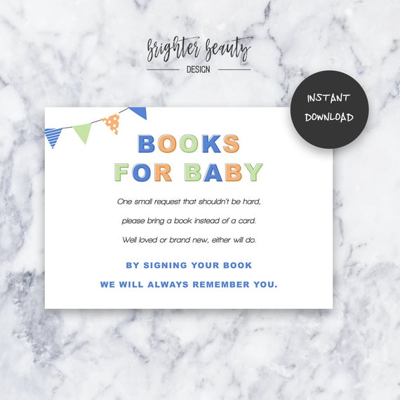 Blue Books for Baby | Baby Shower Insert | INSTANT DOWNLOAD | Do It Yourself | Printable