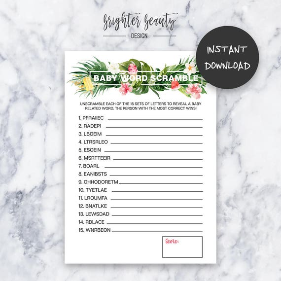 Tropical Baby Shower Word Scramble Game | Instant Download | DIY | Printable