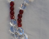 Crystal Quartz Nuggets with Red Glass Nuggets Hill Tribe Silver Clasp and Focal