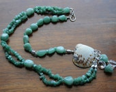 Aventurine Necklace featuring Natural Sea Shell Pendant Sterling Silver