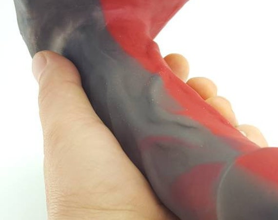 BJ Dildo Designed to Suck-Red Black-Platinum Silicone-Mature