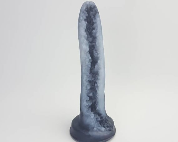 Geode Dildo-Smoky Black Quartz-Platinum Silicone-Mature