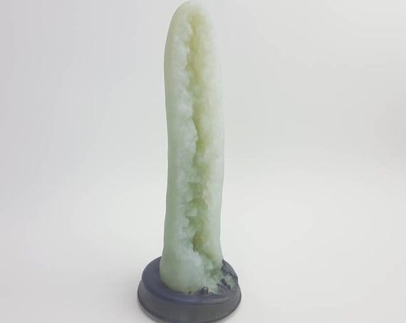 Geode Dildo-Shimmery Jade Gemstone-Platinum Silicone-Mature