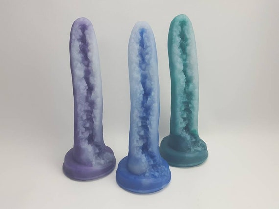 Geode Dildo-Crystal-Platinum Silicone-Three Colors Available-Mature