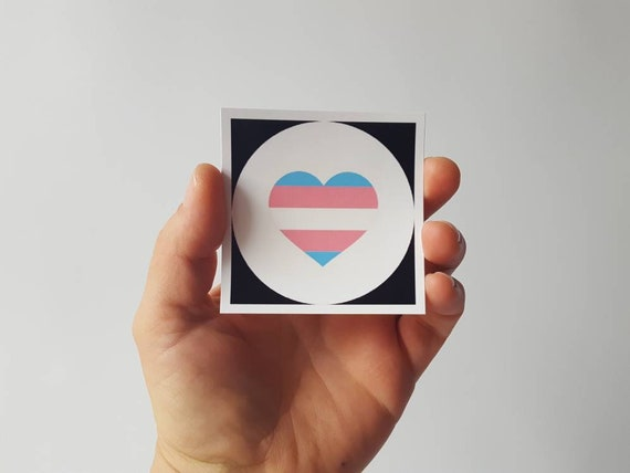 Sticker- Trans Pride Heart with Logo-Transgender