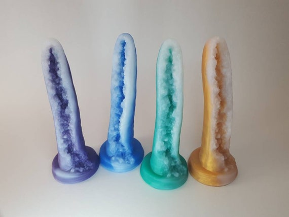 Geode Dildo-Crystal-Platinum Silicone-Four Colors Available-Mature