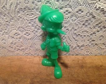 Vintage Pinocchio Marx Toy Green Plastic Doll