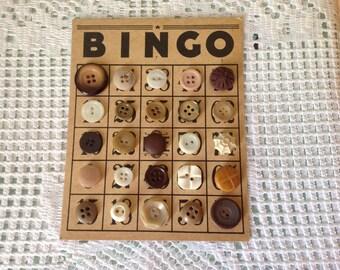 Vintage Bingo Card Embellished with Vintage Buttonsx