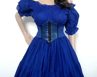 Dr Who Dress Tardis Corset Inspired Police Box Renaissance Cosplay Steampunk Victorian