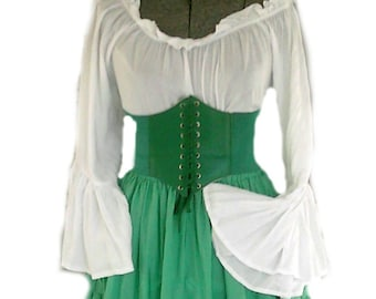 bad65632e58 St Patricks Renaissance Dress Chemise Corset Outfit 4 pcs Wench Pirate  Medieval Steampunk Costume Celtic Cosplay Fair Green