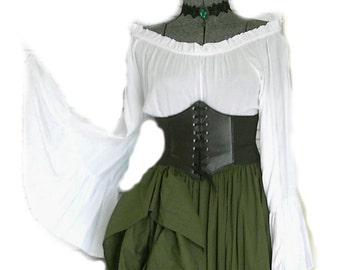 9c8b0379e59 Green Renaissance Pirate Gypsy Dress Chemise Corset Outfit Waist Cincher 4  pcs Wench Steampunk Costume Medieval