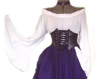 6fd33717b1a Renaissance Dress Pirate Gypsy Chemise Corset Outfit Waist Cincher 4 pcs  Wench Steampunk Costume Medieval L XL 2X