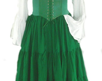 d239c9cb217 Renaissance Dress Chemise Corset Outfit 4 pcs Wench Pirate St Patricks Day  Medieval Steampunk Costume Celtic Cosplay Fair Dark Green