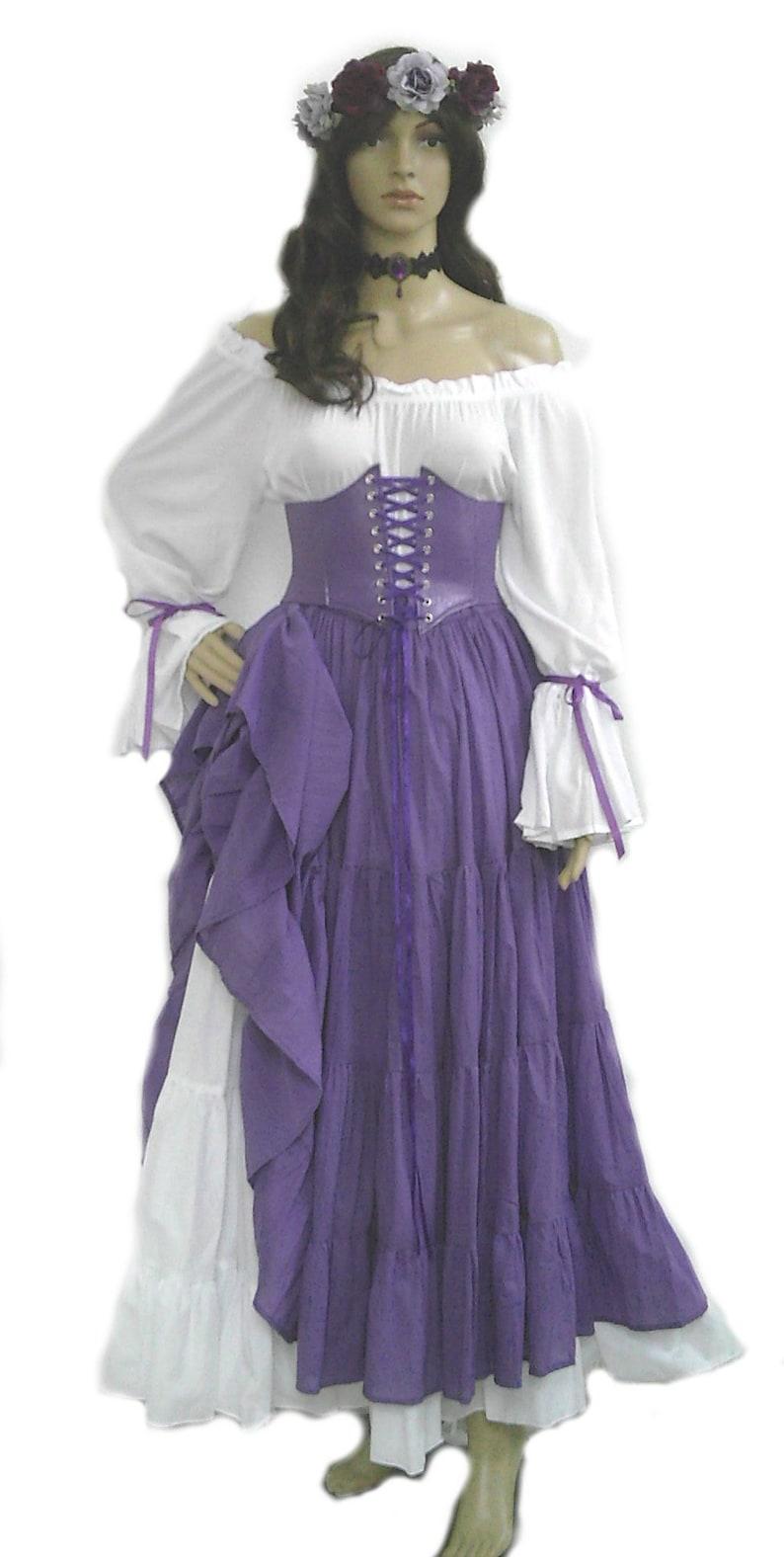 b8fb8d11 Renaissance Dress Corset Skirt Chemise Wench Pirate Medieval Steampunk  Costume Celtic Cosplay Fair Purple
