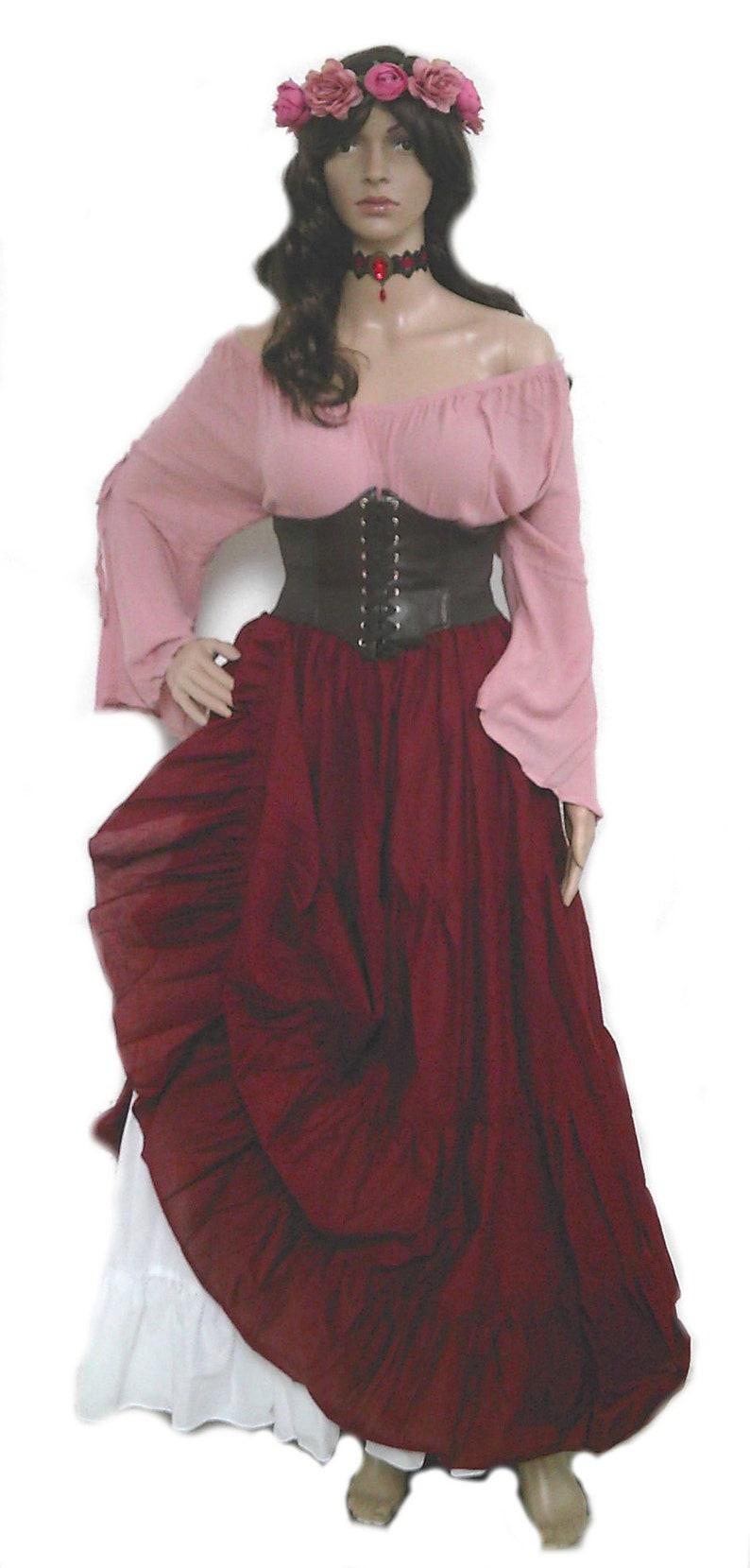 bceb5ad84 Plus Renaissance Dress Corset Skirt Chemise Wench Pirate