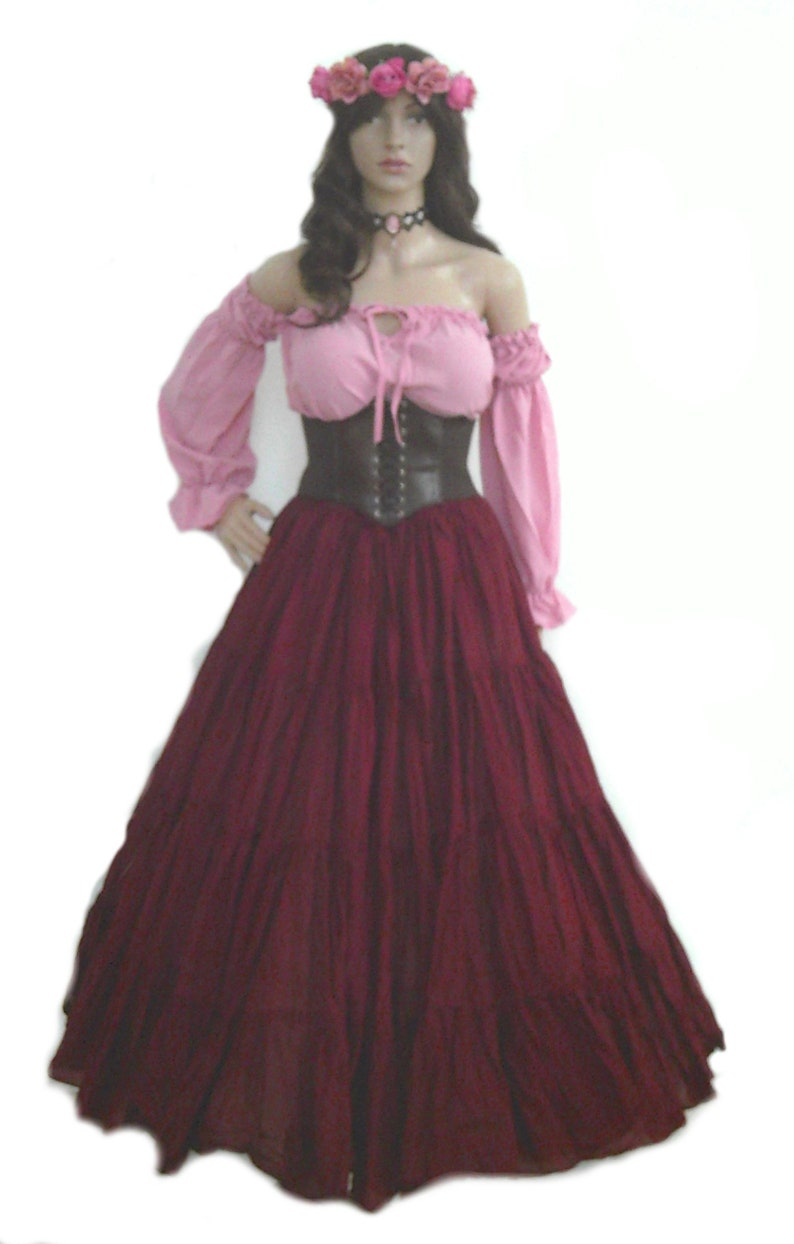 9ae440c5a29 Renaissance Dress Pirate Corset Gypsy Chemise Waist Cincher 4