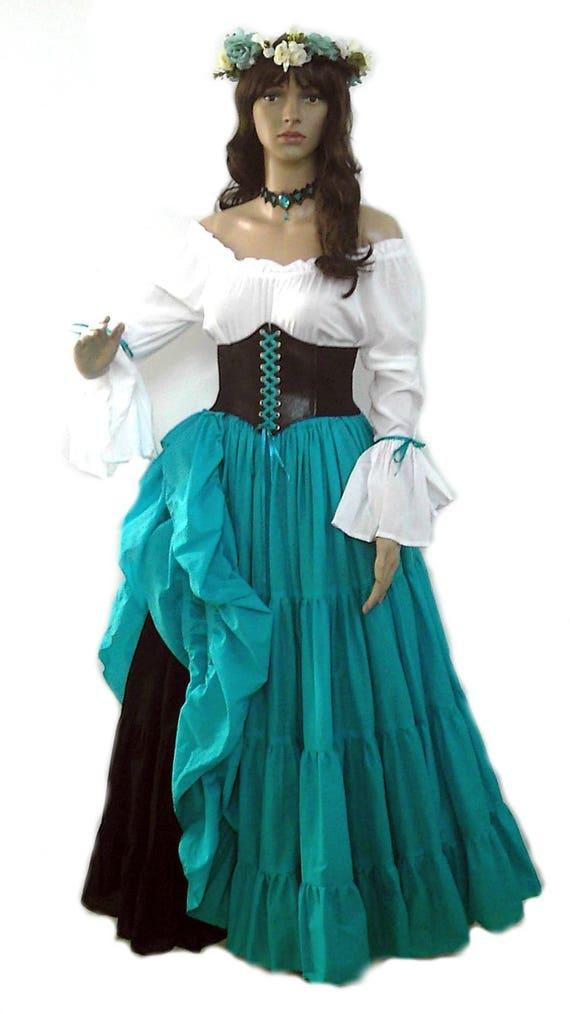 b9a628fee56d0 Renaissance Dress Corset Skirt Chemise Wench Pirate Medieval