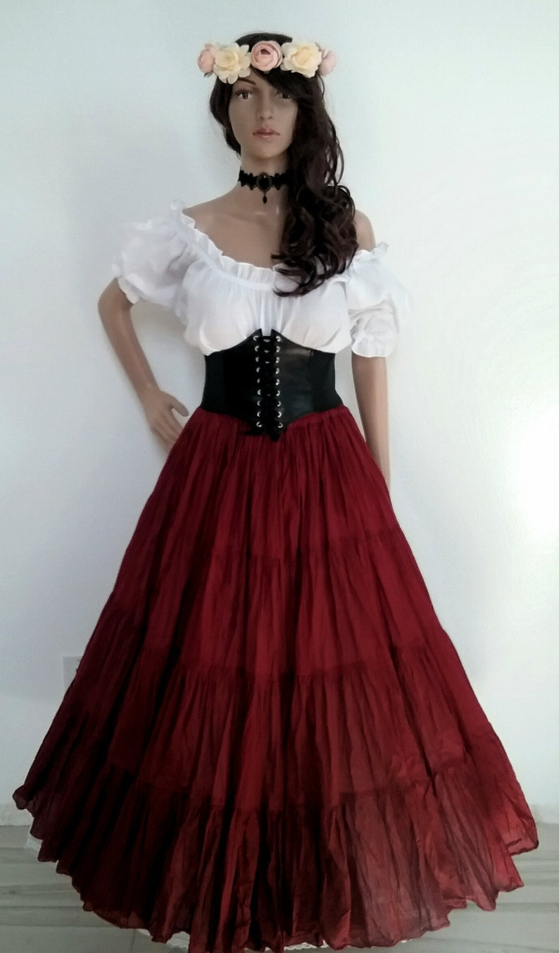 bab92157 Renaissance Dress Chemise Corset Outfit 4 pcs Wench Pirate Medieval  Steampunk Costume Celtic Cosplay Fair Maroon Halloween 2