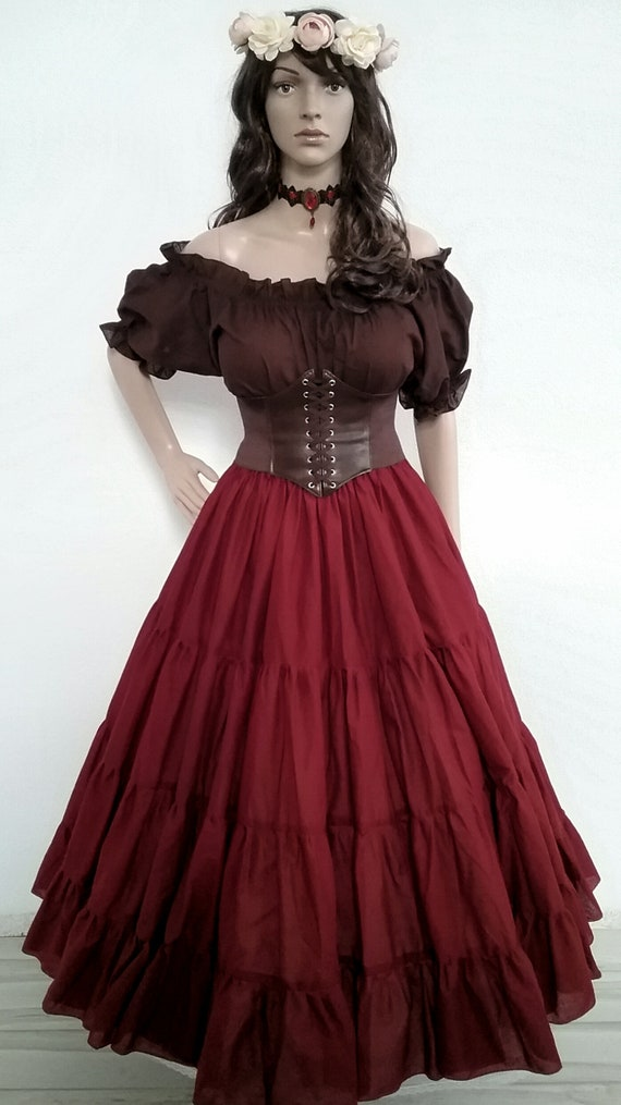Renaissance Victorian Costume Dress Up Corset Medieval Pirate TOP Wench Bodice