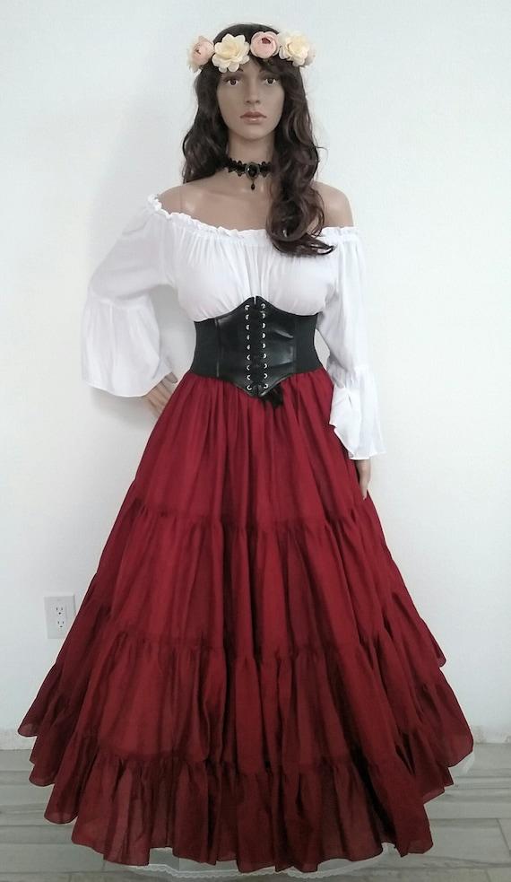 Corset Renaissance Dress Blouse Complete Outfit 3 Pieces Skirt