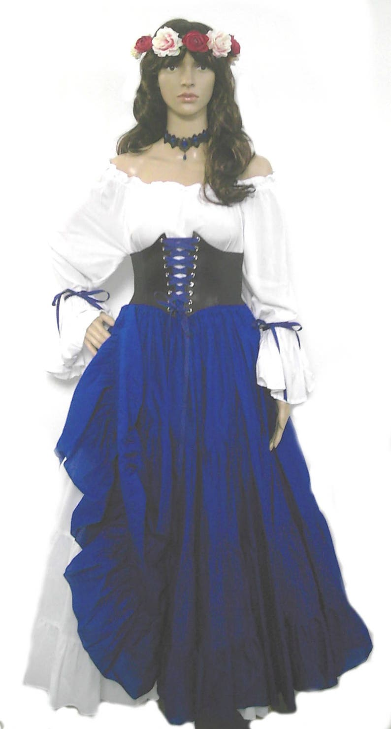 e5e450ef28b Renaissance Dress Corset Skirt Chemise Wench Pirate Medieval